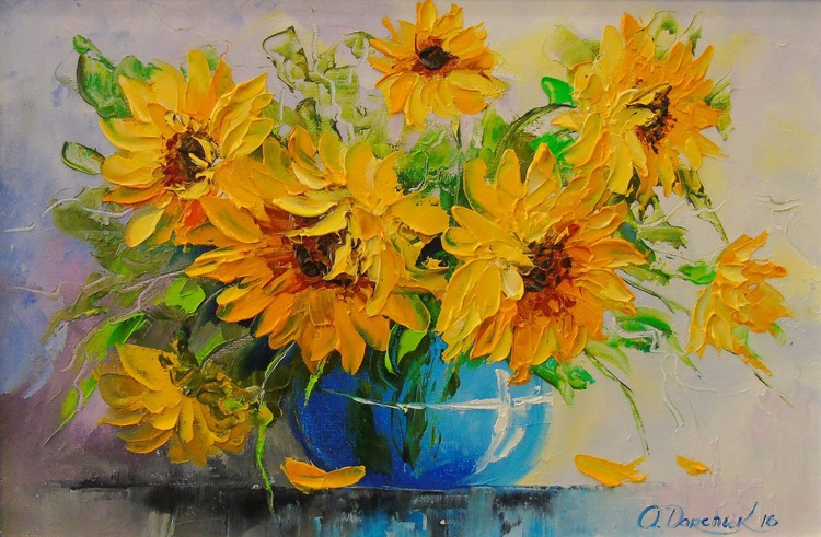 Bouquet of sunflowers in a vase - Image 0