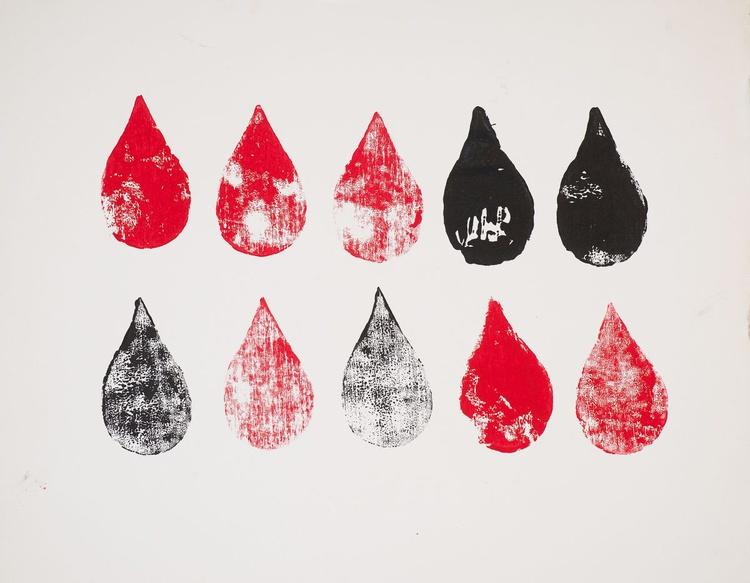 Red & Black Raindrops - Image 0
