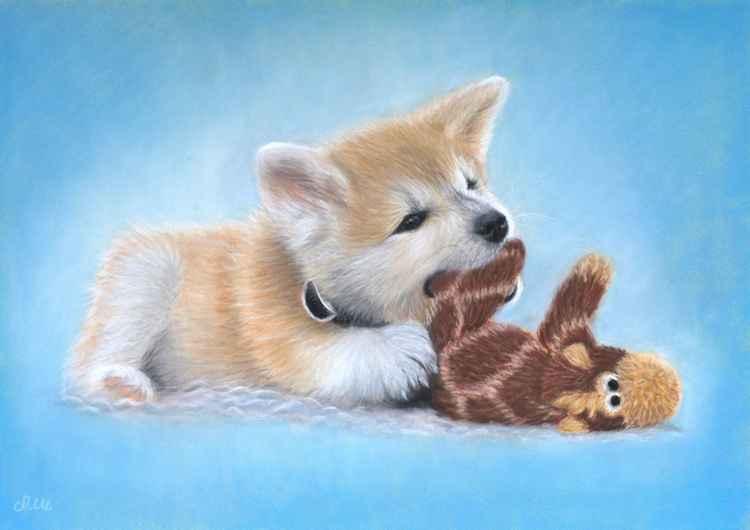 "Original pastel drawing ""Akita Inu puppy"" -"