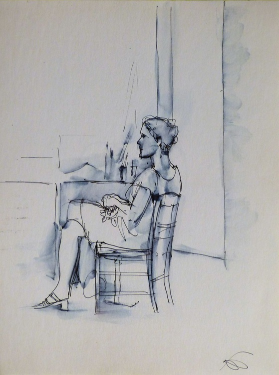Sitting Woman #3, 24x32 cm - Image 0