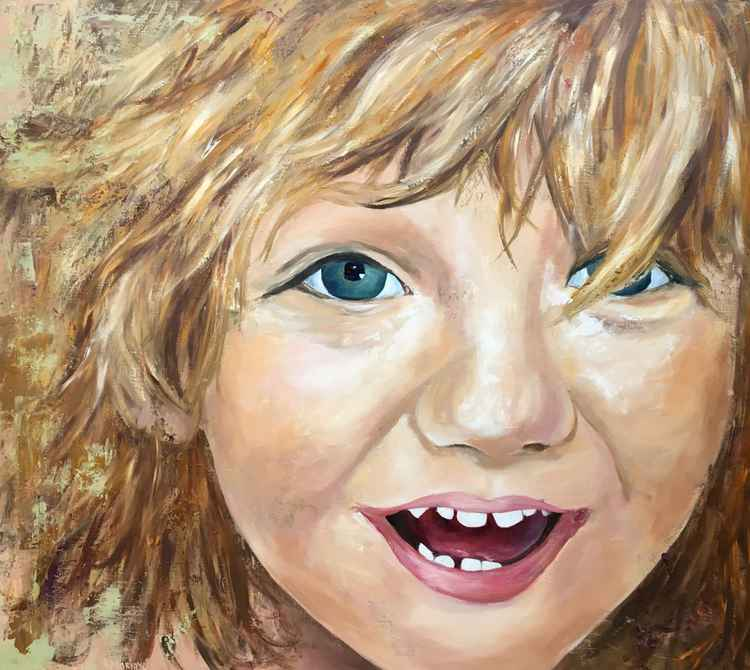 Original artwork Child portrait, Face, Smile, Laughter, Emotions