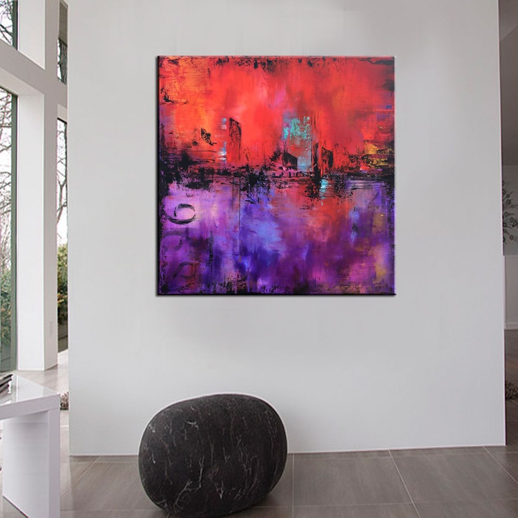 """"""" Red Sunset"""" 36"""" Large Abstract Urban Painting, Art Painting Large industrial modern abstract painting sofa knife art - Image 0"""
