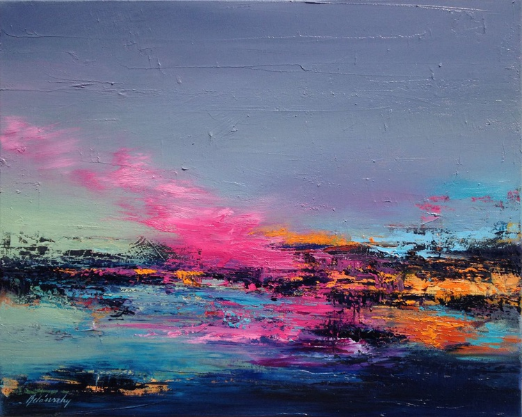 Back to the Lake - 40 x 50 cm, abstract landscape oil painting, turquoise, orange, pink - Image 0
