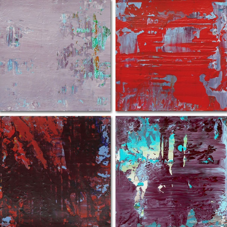 """4 Original Acrylic Paintings on Wood - Small Collectible Art - 6x6"""" each - Ready to hang - Image 0"""