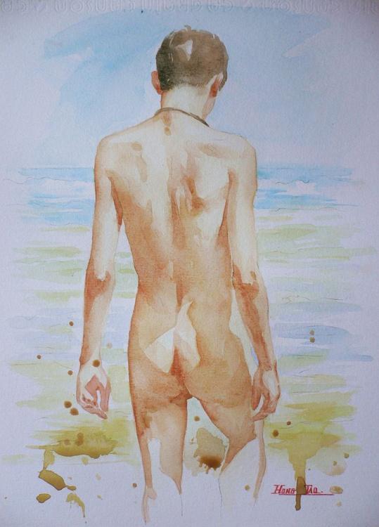 original watercolour painting  artwork boy on paper#16-9-20 - Image 0