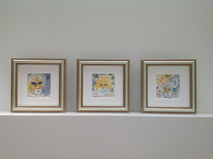 Masks at the Carnival of Venice - A trio of Framed miniature watercolours - Image 0