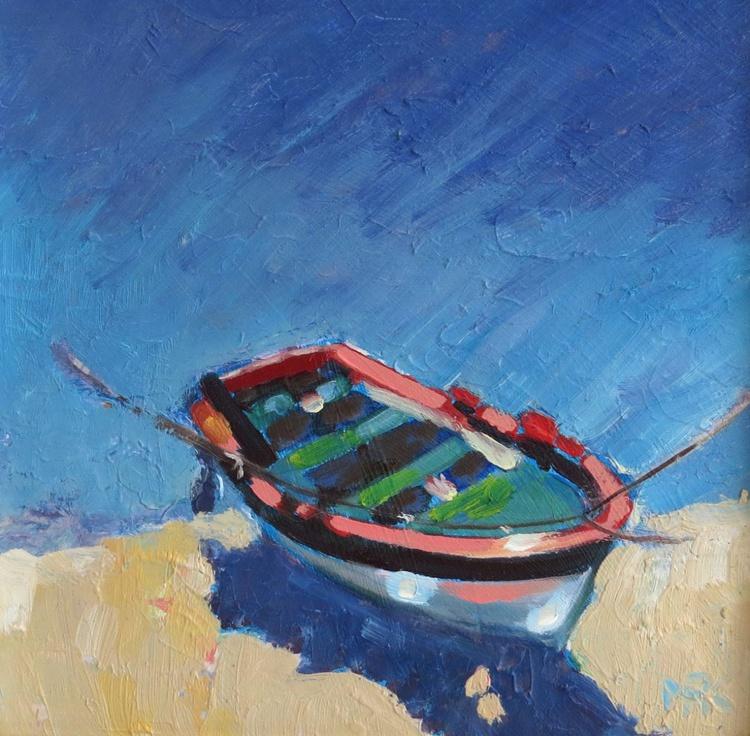Boat in a Blue Sea - Image 0