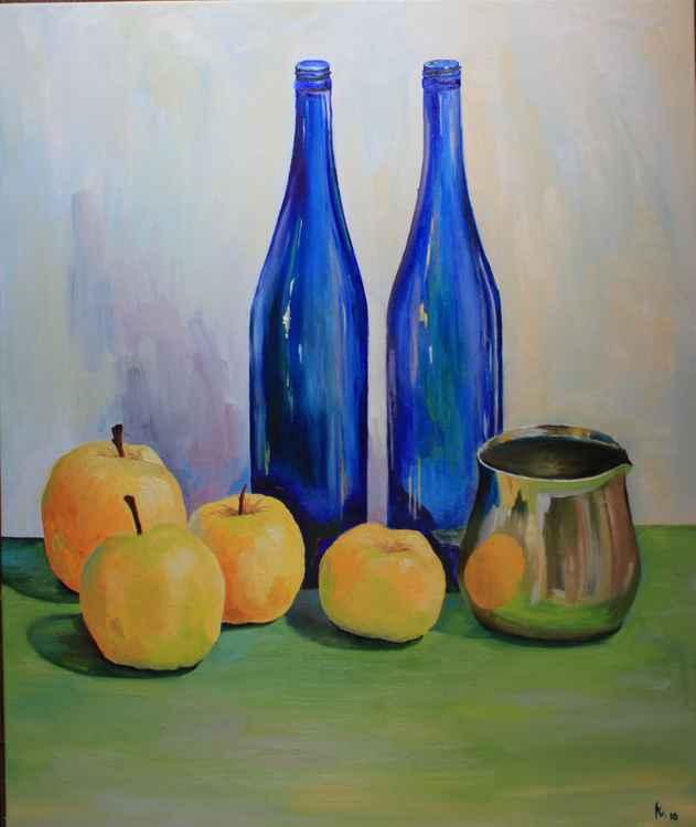 Still life with blue bottles