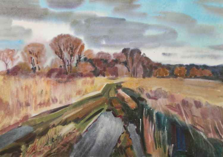 Road in a field, large watercolor painting 98x68 cm -