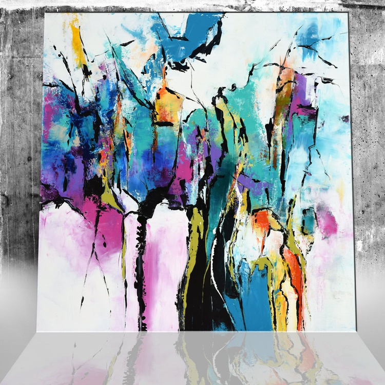 The Lagoon -  Large abstract Handmade Painting, Modern Canvas Wall Art Blue, Pink and Purple Art - Image 0