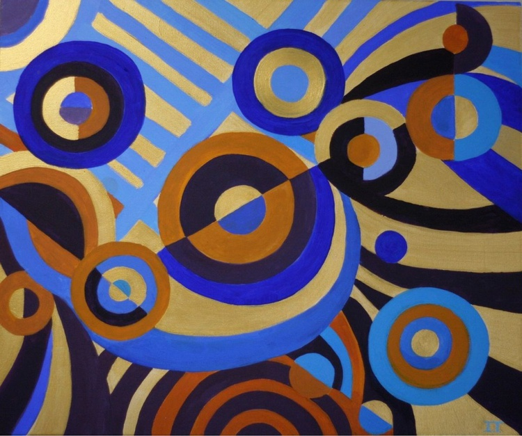 Abstract circles Original Acrylic Artwork 60X50 cm - Image 0