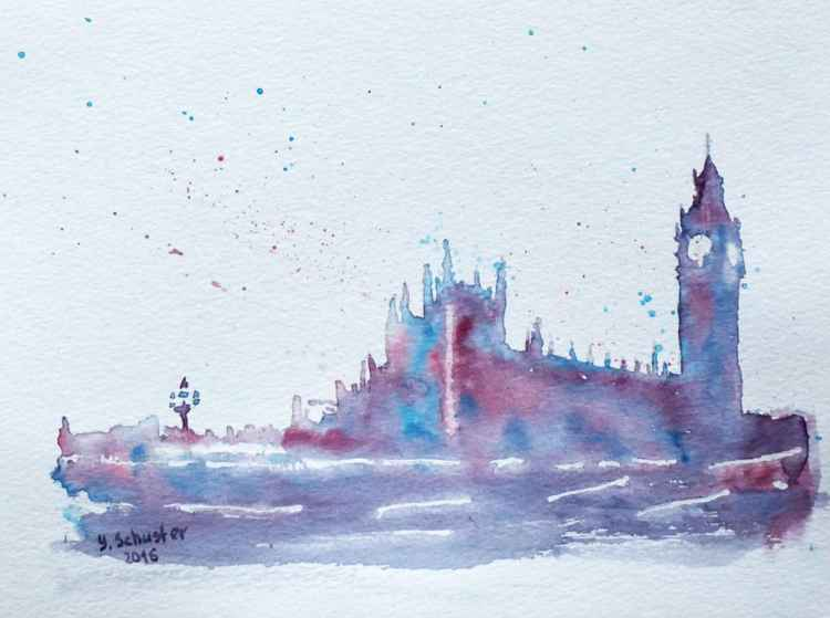 Big Ben and and Westminster Palace 2. Abstract watercolor