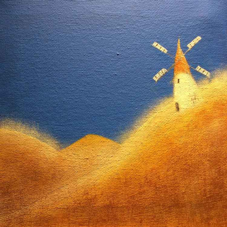 """ three golden hills and an old windmill ""Landscape  ( miniature size)15x15x1cm -"