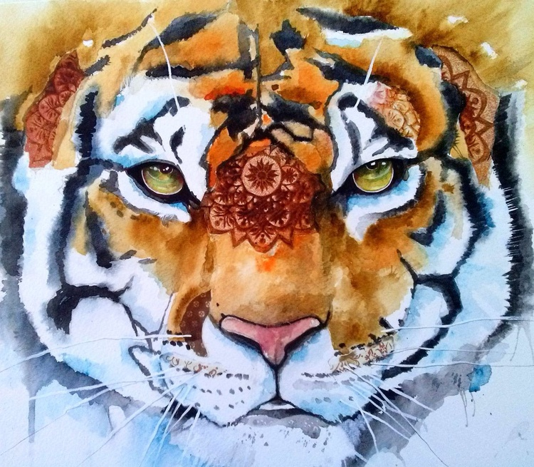Tiger with collage - Image 0