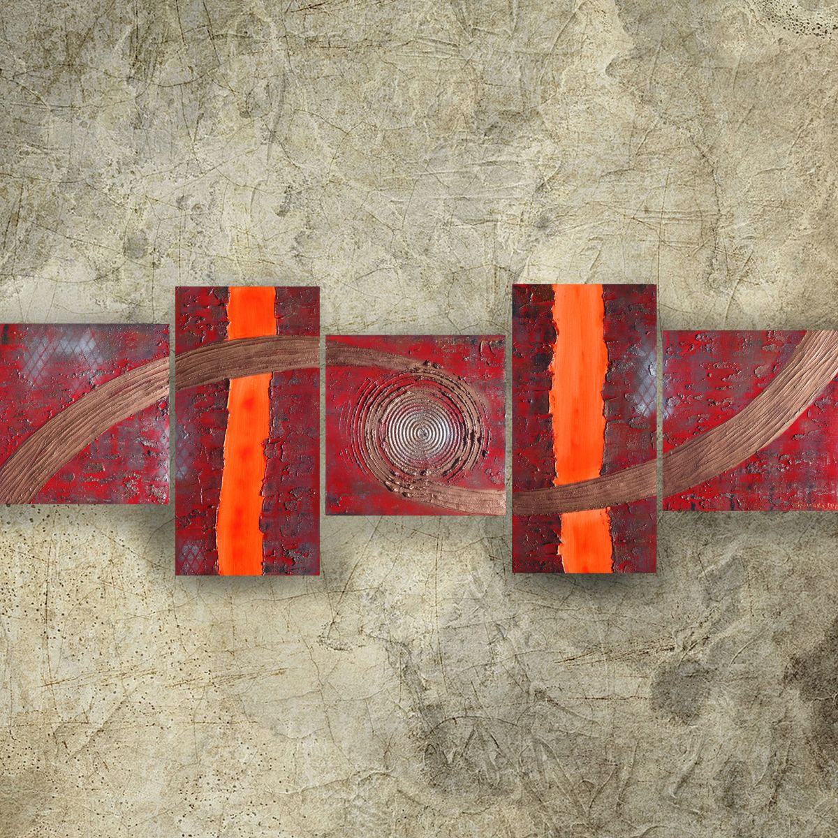 Abstract textured paintings 80x240x4 cm red copper ooak for Decoration xxl