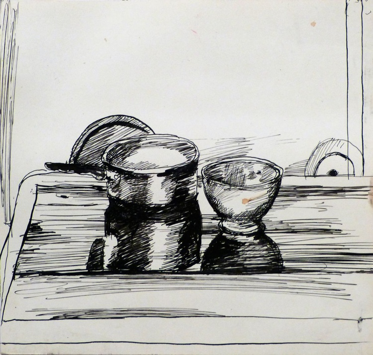 Still Life: Cooking Pot And Bowl #2, 24x23 cm - Image 0