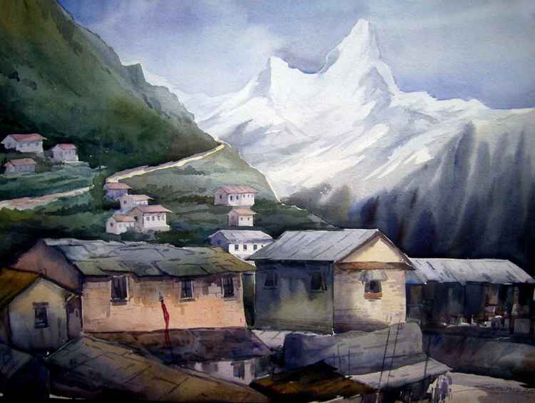 Beauty of Himalayan Peaks & Village - Watercolor painting -