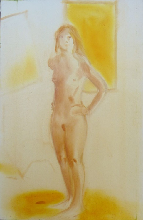 Standing Nude, oil on canvas 60x92 cm - Image 0