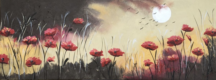 Bright red poppies by the full moon - Image 0
