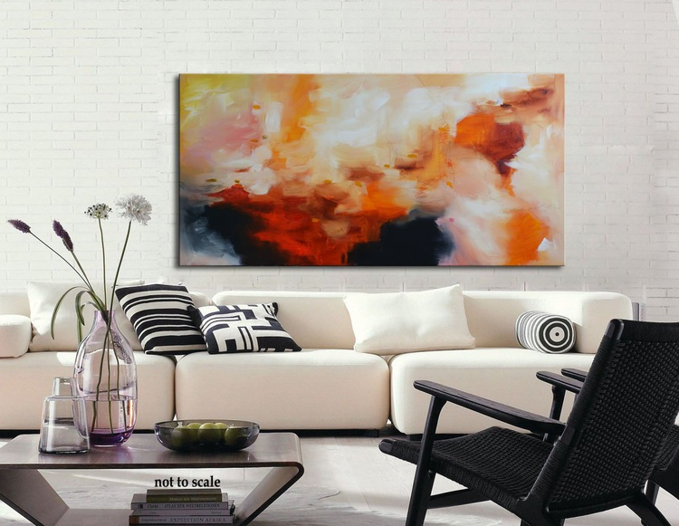 Everything is a matter of grace - Original red and orange painting on canvas, abstract modern art - Image 0