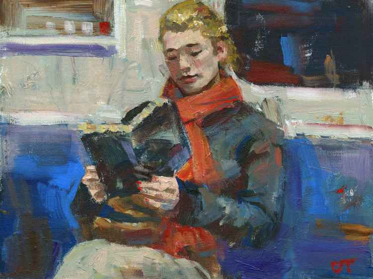 Red Scarf Reading in Subway -