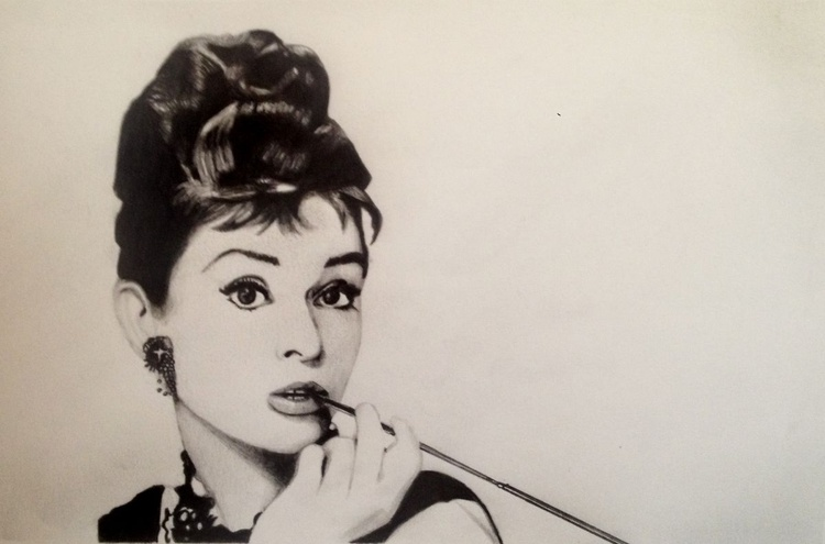 Audrey Hepburn, Breakfast at Tiffany's  - Graphite Pencil Drawing - Image 0