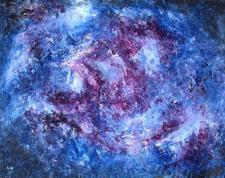 "Purple Universe - Acrylic on Canvas  (48""x36"") - Image 0"