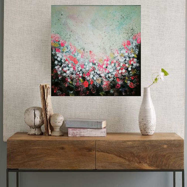 """31,5 by 31,5"""" , square abstract painting, The Land of dreams 5, Island, neon colors, land, flowers - Image 0"""