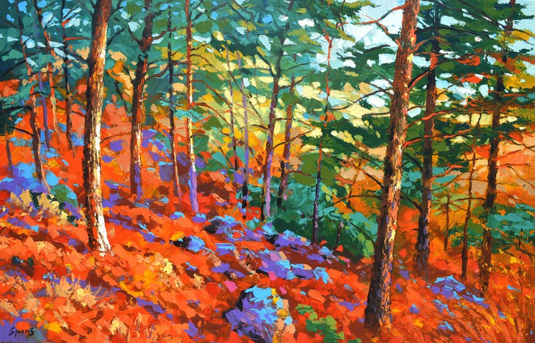 Scarlet forest - Dmitry spiros painting, oil painting, home decor, wall art, wall decor, home decor,  canvas art, painting on canvas, Size: 110cm x 70cm - Image 0