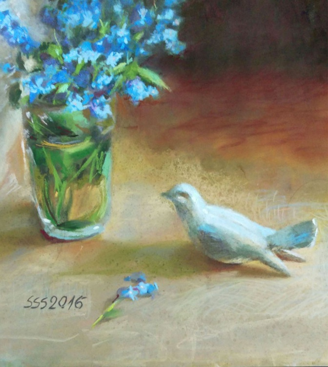 Forgetmenots and a birdie - Image 0