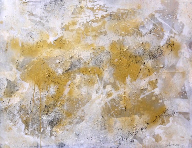 Interstellar Gold Rush | large abstract painting | white gold silver grey - Image 0
