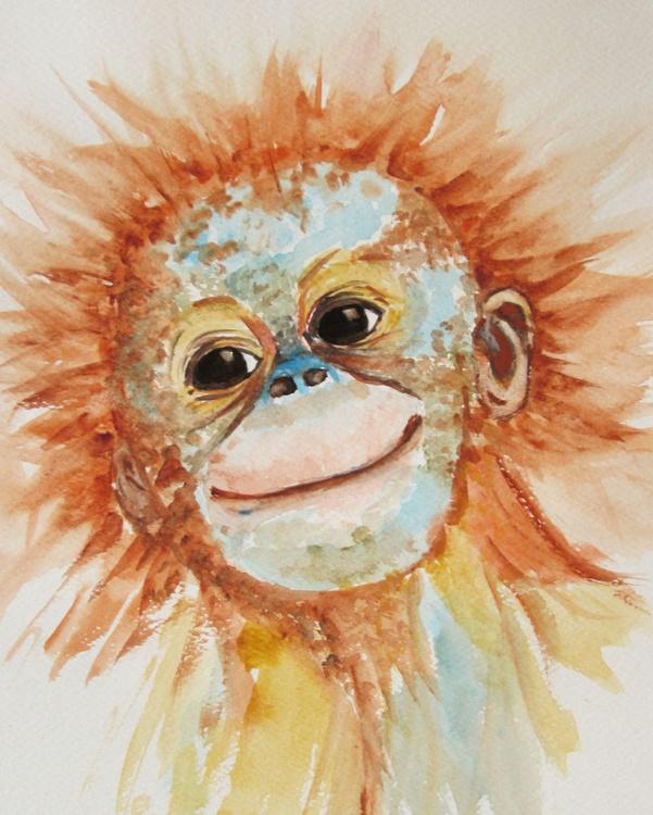 """ORANGUTAN CUTIE"", Monkey Primate Orangutan Pet Portrait original watercolour painting - Image 0"
