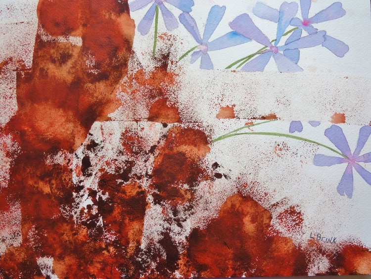 """abstract in acrylic and watercolor """"Flowers in the Midst"""" - Image 0"""