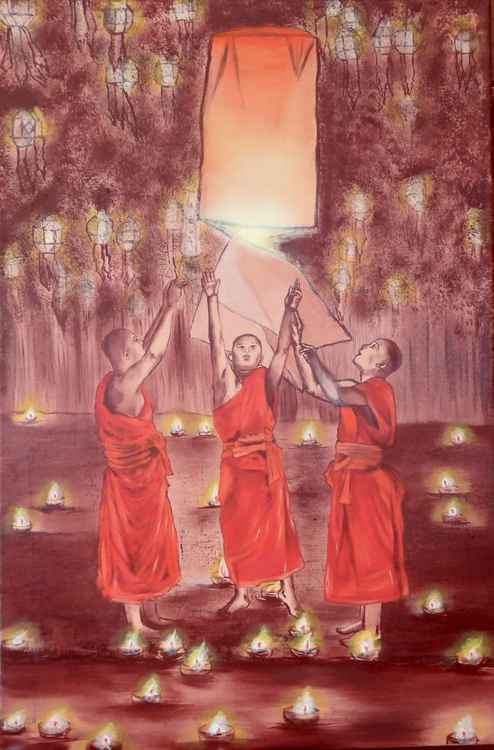 Three Monks and a Lantern -