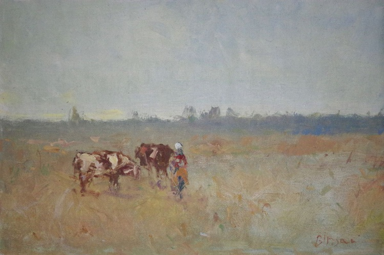 Landscape Meadow Original oil Painting, Impressionism, Signed, One of a Kind - Image 0