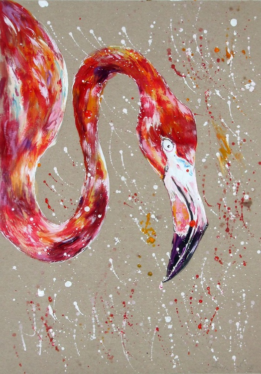 Flamingo / Gouache - Image 0