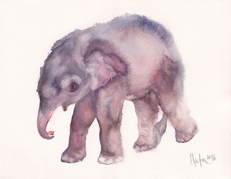 Baby Elephant /Framed/ Ready to hang!/ - Image 0