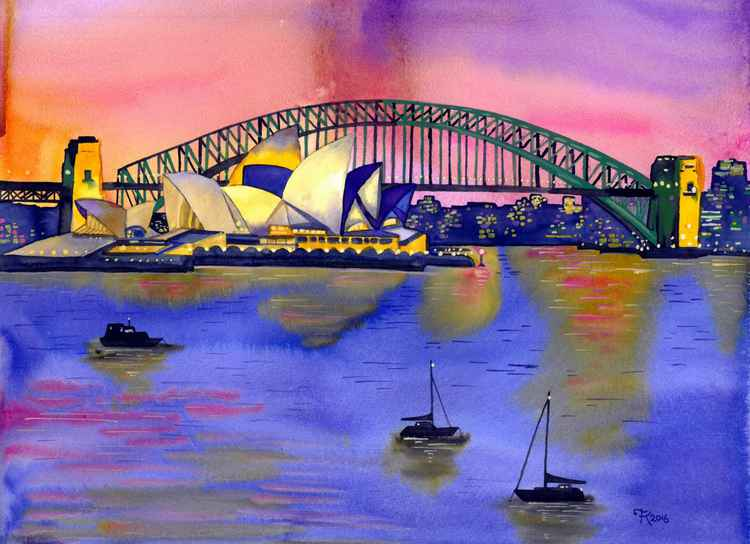 Sydey Harbour, with bridge and opera house (Special Request Commission) -