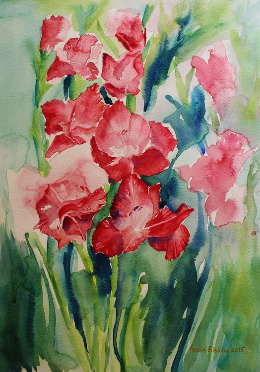 Gladioli Still Life in watercolor - Image 0
