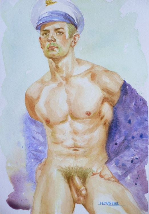 original watercolour painting  artwork male nude on paper#16-8-16 - Image 0