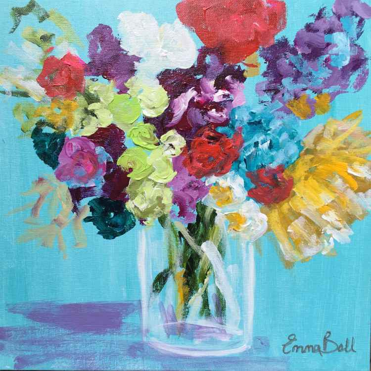 Bright floral mini work on canvas board -
