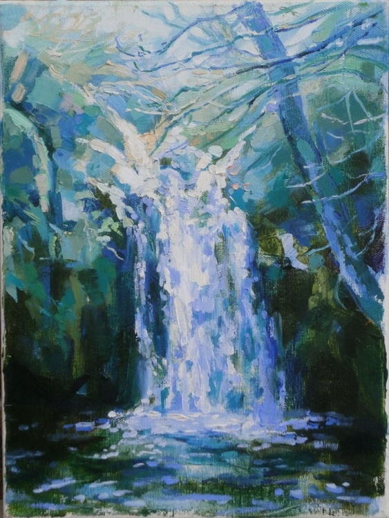 Just a small painting - silver waterfall - Image 0