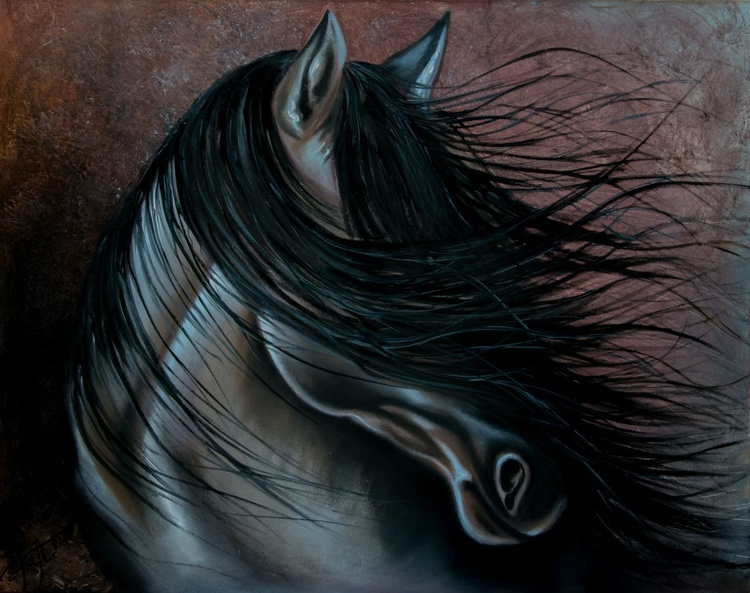 """""""Into the wind""""  large size oil painting 100x80x2cm - Image 0"""