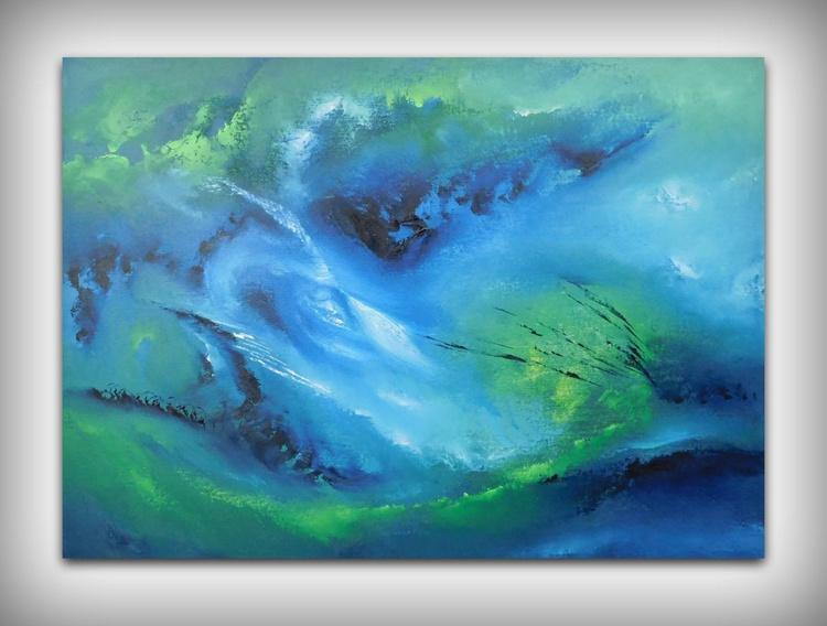 Cool night -  70x50 cm, Original abstract painting, oil on canvas - Image 0