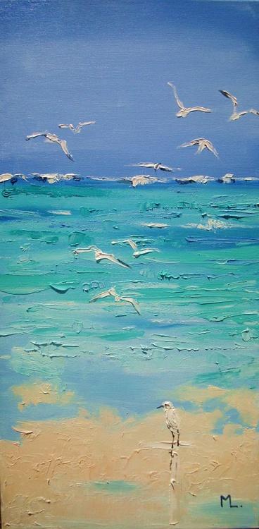""" IN PARADISE ... "" SEA original painting palette knife GIFT MODERN URBAN ART OFFICE ART DECOR HOME DECOR GIFT IDEA - Image 0"