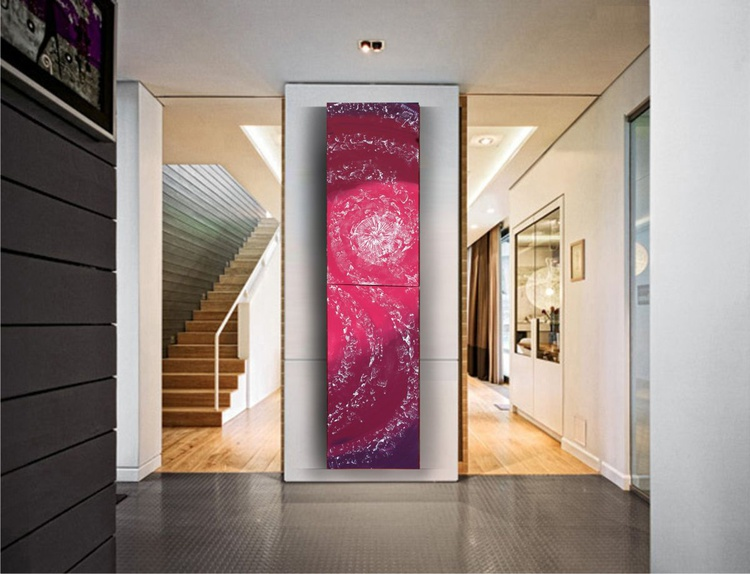 Ocean 61 100x100x2cm or 50x200x2cm LONG pink burgundy red original abstract art Large paintings acrylic on stretched canvas modern wall art by artist Ksavera - Image 0