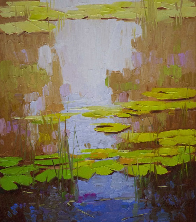 Water lilies Pond Original oil Painting Handmade artwork - Image 0