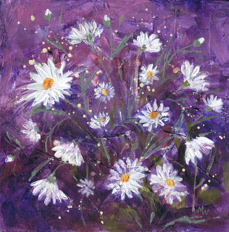 Daisies on Mauve - Image 0