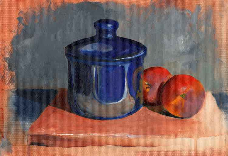 Blue Bowl and Peaches -