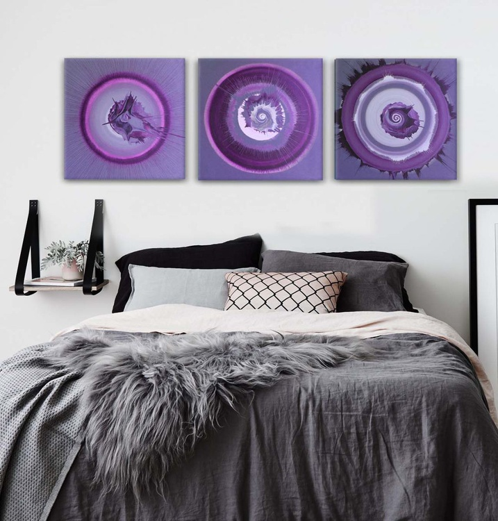 PURPLE FINK  -  Acrylic Abstract - TRIPTYCH  HUGE 150 x 50cm - Image 0